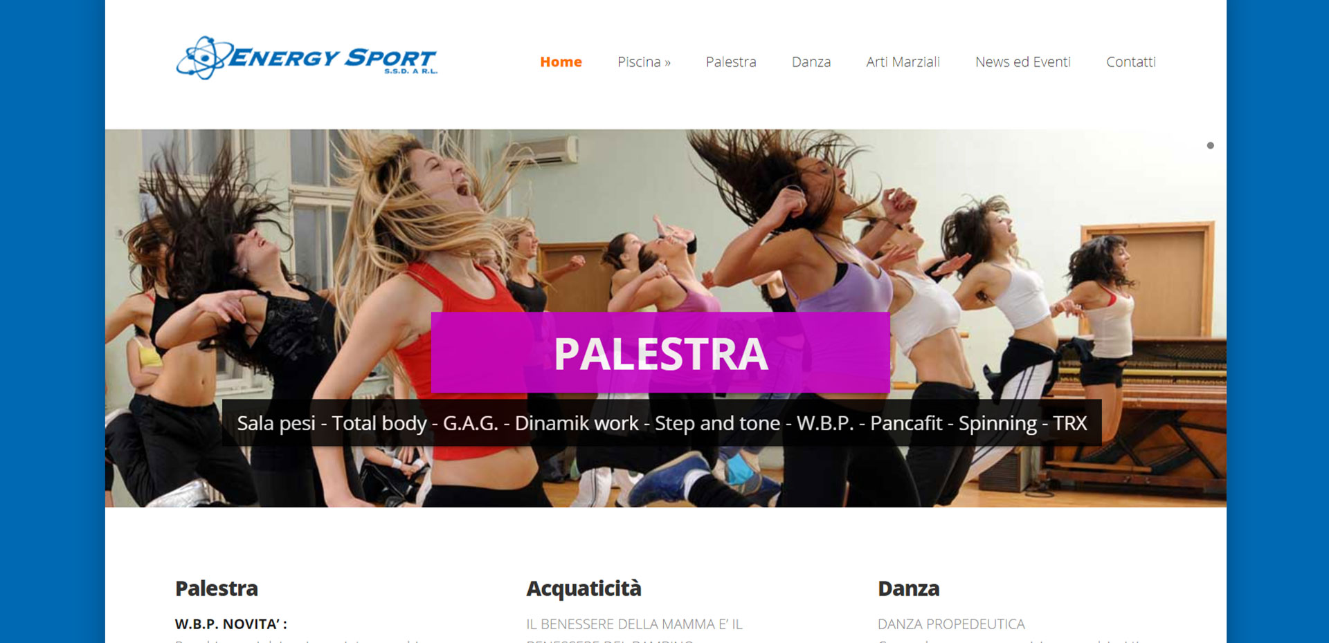 Sito web responsive per Energy Sport